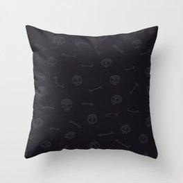 Gray Cartoon Skulls on Black Background Seamless Pattern Throw Pillow