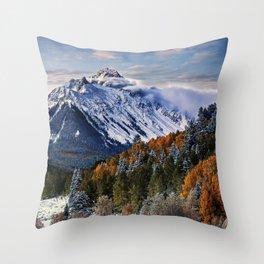 Mount Sneffels mountains winter forest Sneffels Range Rocky Mountains USA Throw Pillow