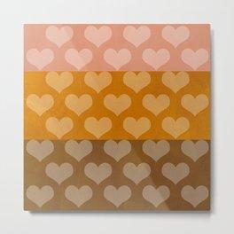 Patina Hearts Rose Gold Metal Print
