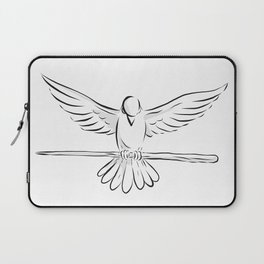 Soaring Dove Clutching Staff Front Drawing Laptop Sleeve