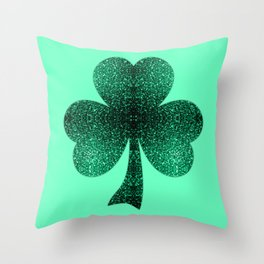 Emerald green shamrock clover sparkles Throw Pillow