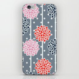 Blossom pattern with dots iPhone Skin