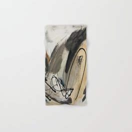 Drift [5]: a neutral abstract mixed media piece in black, white, gray, brown Hand & Bath Towel