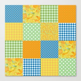 Golden Daffodils Faux Patchwork Canvas Print