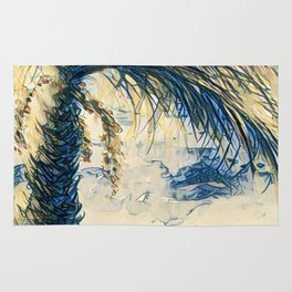 Tropical Palm Tree Blue by CheyAnne Sexton Rug