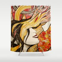 monsters Shower Curtains featuring Monsters by Justine Lecouffe