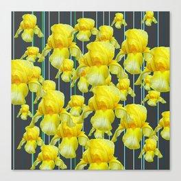 CHARCOAL GREY YELLOW IRIS GARDEN ABSTRACT Canvas Print