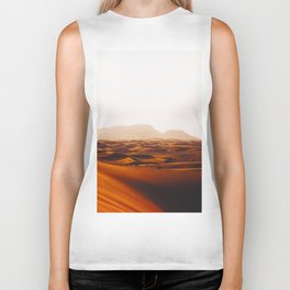 Minimalist Desert Landscape Sand Dunes With Distant Mountains Biker Tank