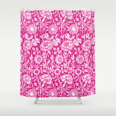 """William Morris Floral Pattern   """"Pink and Rose"""" in Hot Pink and White Shower Curtain"""
