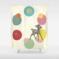 bambi Shower Curtains featuring Go Bambi! by Cassia Beck