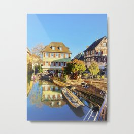 Colorful romantic city Colmar, called little Venice in France Metal Print