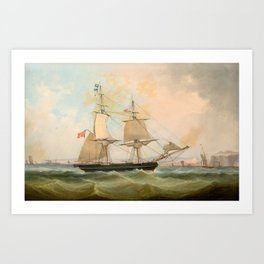 A MERCHANT BRIG AND GENERAL SHIPPING IN THE CHANNEL OFF DOVER Art Print