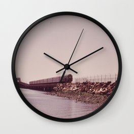 NEW YORK SUBWAY IS ABOVE GROUND WHEN IT CROSSES JAMAICA BAY AREA Wall Clock