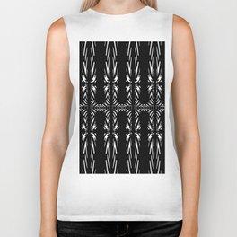 Geometric Black and White Tribal-Inspired Pattern Biker Tank