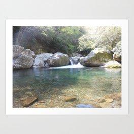 Midnight hole waterfall pool Art Print