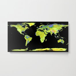 Global Digital Elevation Model Metal Print