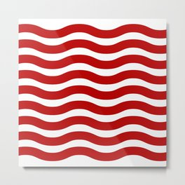 Red Abstract Wavy Lines Pattern Metal Print