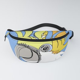 Yellow Crested Cockatoo in blue Fanny Pack