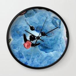 Blue Pomeranian Dog painting Wall Clock