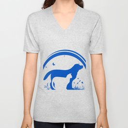 Dog and Cat and nature Silhouette Unisex V-Neck