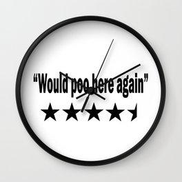 Would Poop Here Again Wall Clock