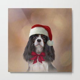 Cavalier King Charles Spaniel in red hat of Santa Claus Metal Print