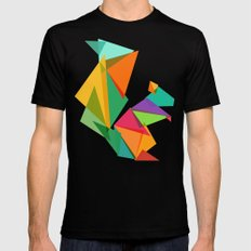 Fractal geometric Squirrel Black Mens Fitted Tee MEDIUM