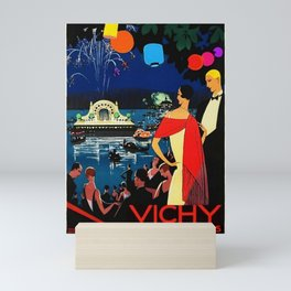 Gorgeous 1926 Vichy French comite des fetes Vintage Lithograph Advertising Wall Art Style 2. Mini Art Print