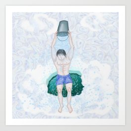 Pouring icy water from a bucket in the winter from a polyny Art Print