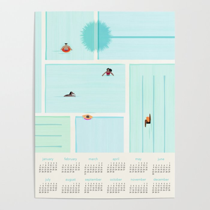 2019 Calendar Featuring Saturdays At The Pool Poster
