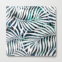Hawaii Prints, Palm Leaves, Teal, Blue and White, Abstract Art Metal Print
