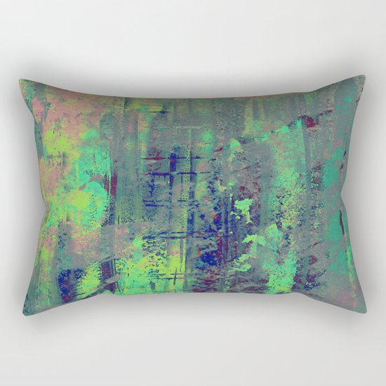 Aqua Abstract Rectangular Pillow