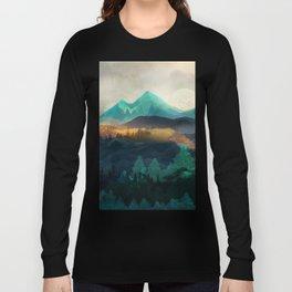 Green Wild Mountainside Long Sleeve T-shirt