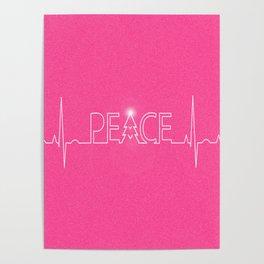 Christmas Pink Peace Minimalist Print Poster