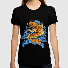 Retro Asian Koi Fish Product Japaneses Carp Koi Pond Print T-shirt