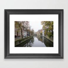 Brugge in the mist Framed Art Print