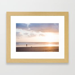 Sunset at Beach with Surfer Man Framed Art Print