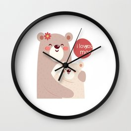 Mutual snatched bear mother and child Wall Clock