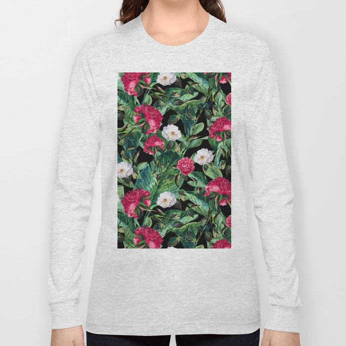 Palm Leaves Pattern Long Sleeve T-shirt