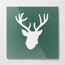 Deer Head: Green Metal Print