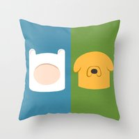 finn and jake Throw Pillows featuring Finn and Jake by Raquel Segal