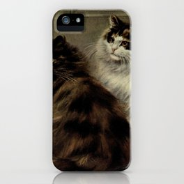 Vintage Painting of Fluffy Cats (1902) iPhone Case