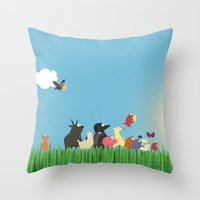 What's going on the farm? Kids collection Throw Pillow
