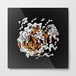 Astronaut Puts Out The Sun Fire Extinguisher Metal Print