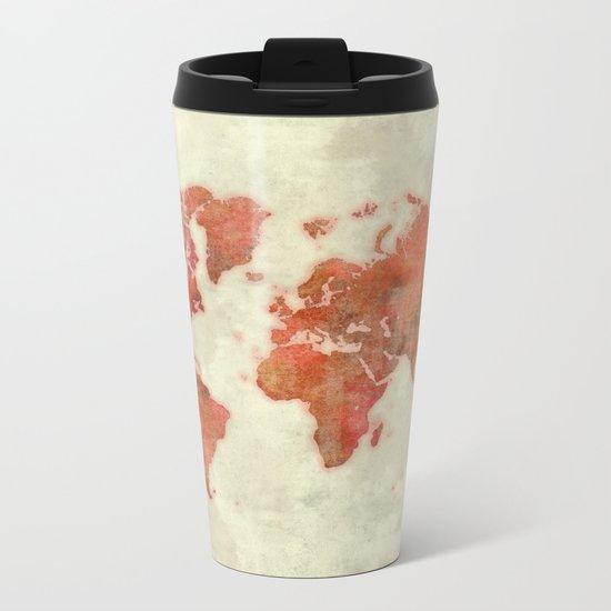 World Map Red Metal Travel Mug