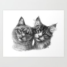 Cats in Love G134 Art Print
