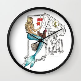 Rhode Island Mermaid Wall Clock
