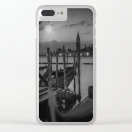 VENICE Gondolas during Sunrise in black and white Clear iPhone Case