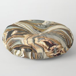 White Gold Agate Abstract Floor Pillow