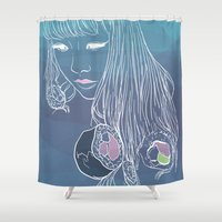 sushi Shower Curtains featuring SUSHI by beerreeme